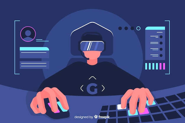 Gamer decorative illustration flat design