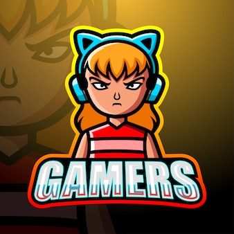 Gamer girl mascot esport illustration
