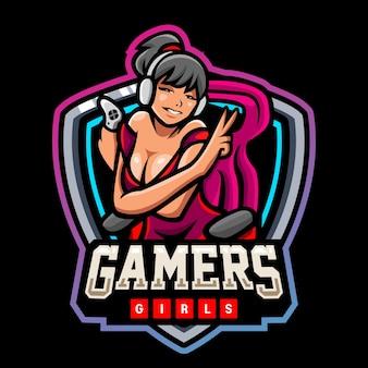 게이머 소녀 마스코트 esport 로고 디자인