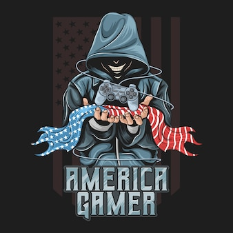 Gamer hold a joystick and an american flag artwork for gamers community or esport team.   is in editable layers
