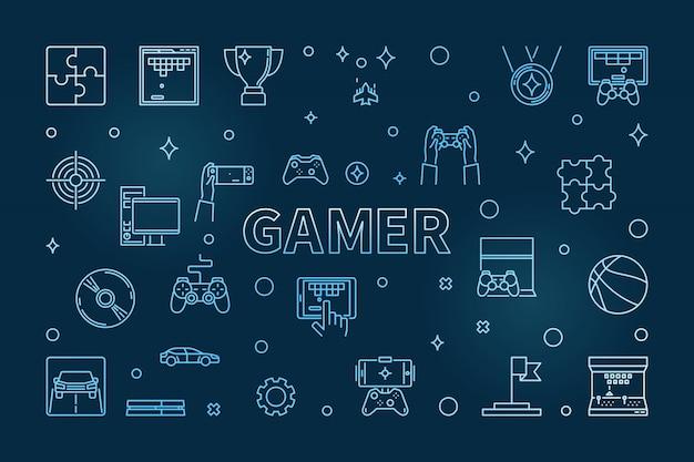 Gamer horizontal illustration
