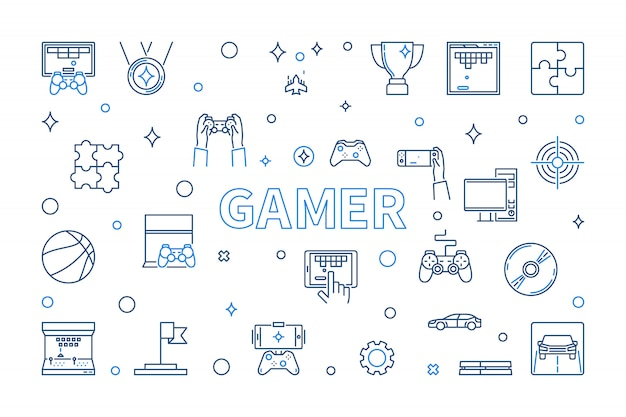 Gamer icon set in thin line style