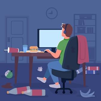 散らかった部屋のゲーマーフラットカラーベクトルイラスト。デスクトップ画面でヘッドフォンの男。床にジャンクフードのゴミ。背景に寝室のインテリアとコンピューター2d漫画のキャラクターでフリーランサー