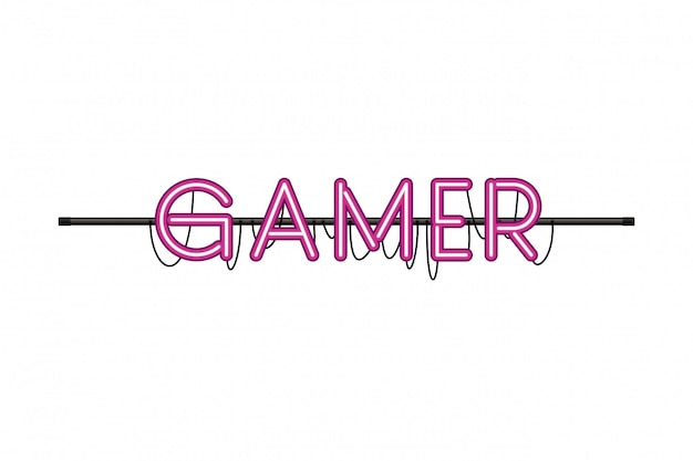 Gamer label in neon light icon