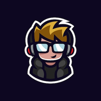 Gamer mascot geek boy esports logo avatar with headphones and glasses cartoon character