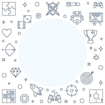 Геймер наброски иконки с рамкой