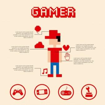Gamer pixel over pink bakground vector illustration