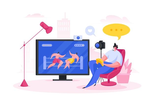 Gamer recording video for blog.  cartoon people  illustration