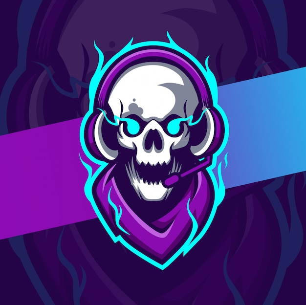 Gamer skull mascot esport logo design