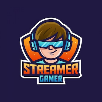 Gamer streamer boy or man wearing headphones and glasses for game cartoon character mascot logo
