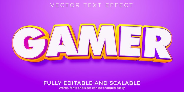 Gamer text effect editable cartoon and comic text style