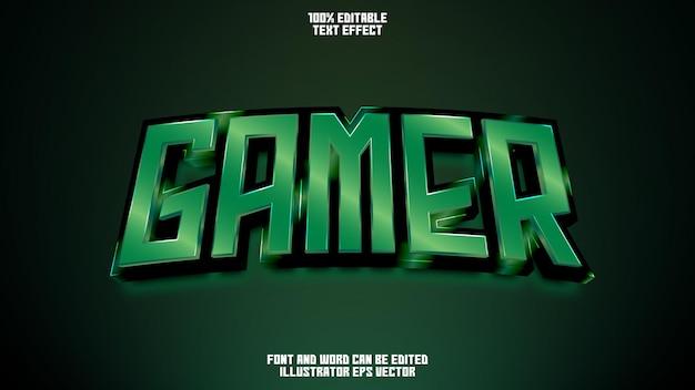 Эффект текста геймера полный редактируемый зеленый блестящий изумруд