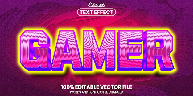 Gamer text, font style editable text effect