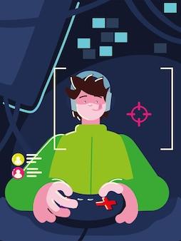 제어 비디오 게임을 사용하는 게이머 프리미엄 벡터