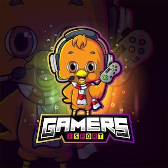 The gamers cool chicken esport logo design of illustration