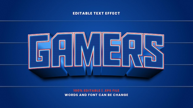 Gamers editable text effect in modern 3d style
