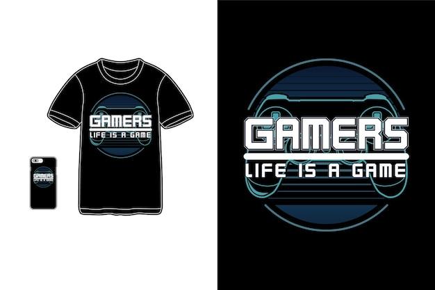 게이머의 삶은 게임 티셔츠 상품 실루엣 모형입니다.