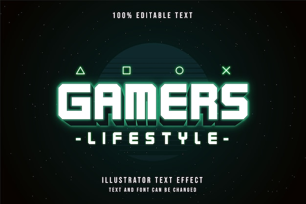 Gamers lifestyle, editable text effect green gradation neon text style