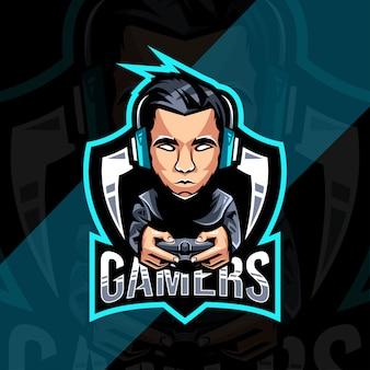ゲーマーのマスコットのロゴデザイン