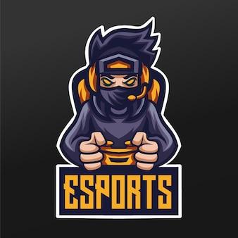 Дизайн спортивной иллюстрации талисмана геймеров ниндзя для логотипа команды esport gaming team squad