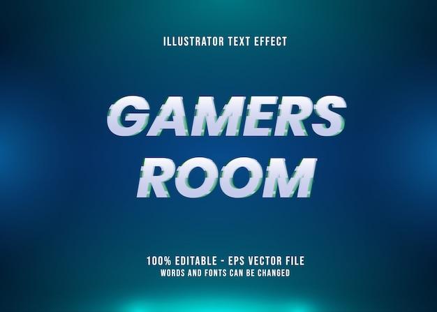 글리치가있는 게이머 룸 편집 가능한 텍스트 효과