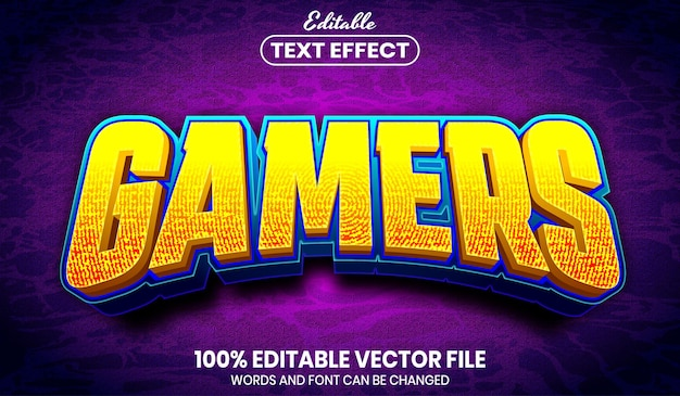 Gamers text, font style editable text effect