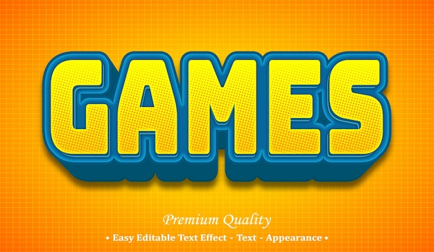 Games 3d editable text style effect