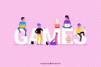 Games background with colorful people