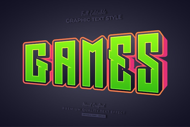 Games cartoon 3d editable text effect font style