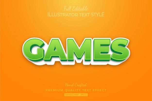 Игры мультфильм редактируемый эффект стиля 3d-текста