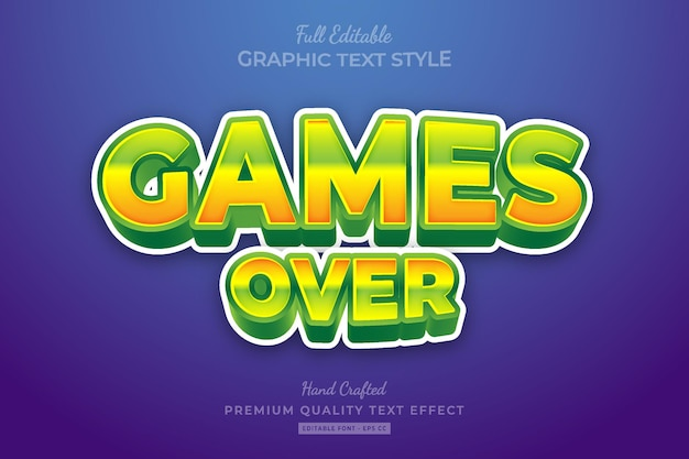 Games over cartoon editable premium text effect font style
