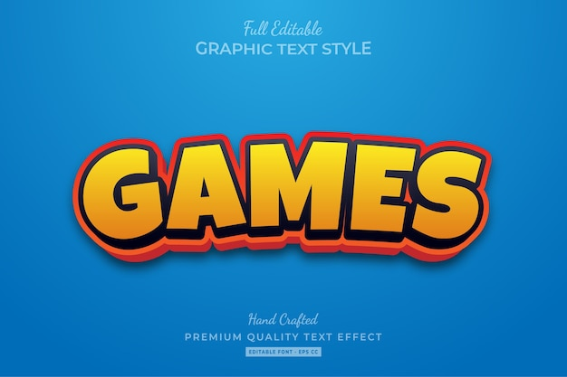 Games cartoon editable premium text style effect
