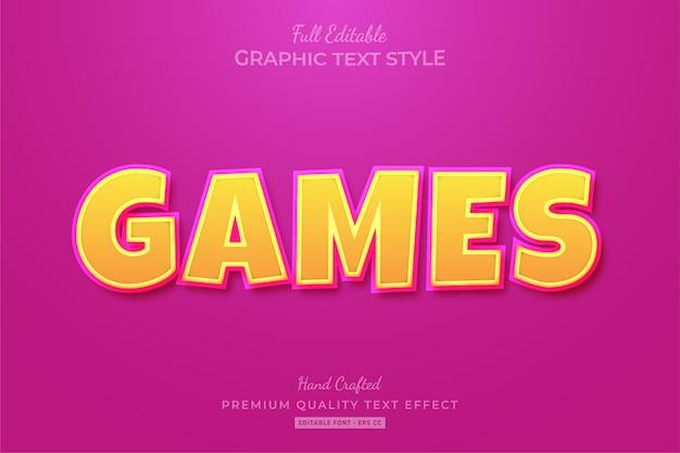 Игры мультфильм редактируемый текстовый эффект стиль шрифта