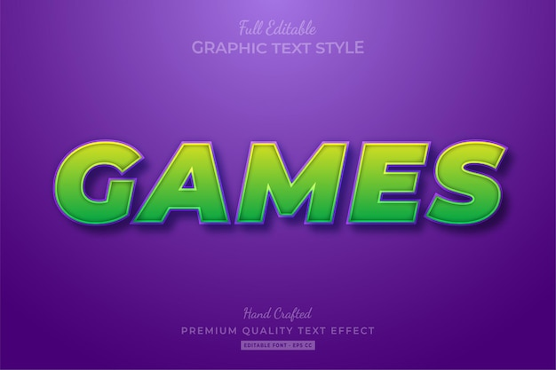 Games cartoon editable text effect font style