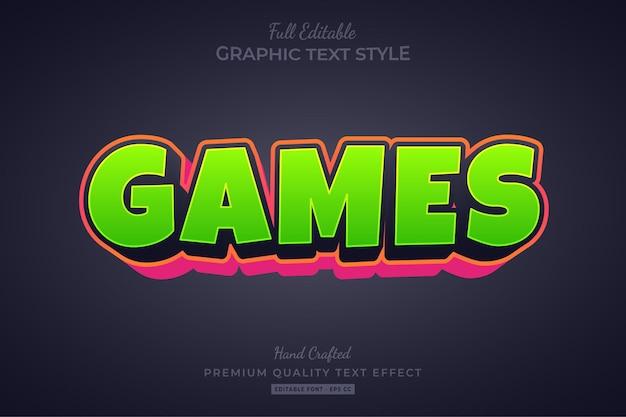 Игры мультяшный редактируемый текстовый эффект стиль шрифта