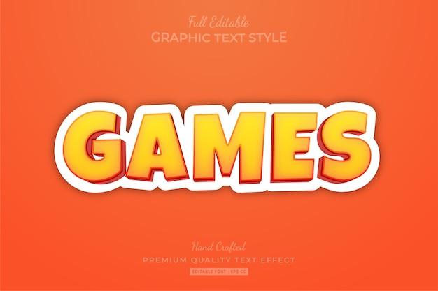 Игры мультфильм редактируемый текстовый эффект