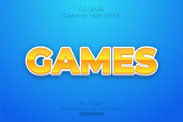 Игры мультфильм редактируемый текстовый стиль эффект премиум