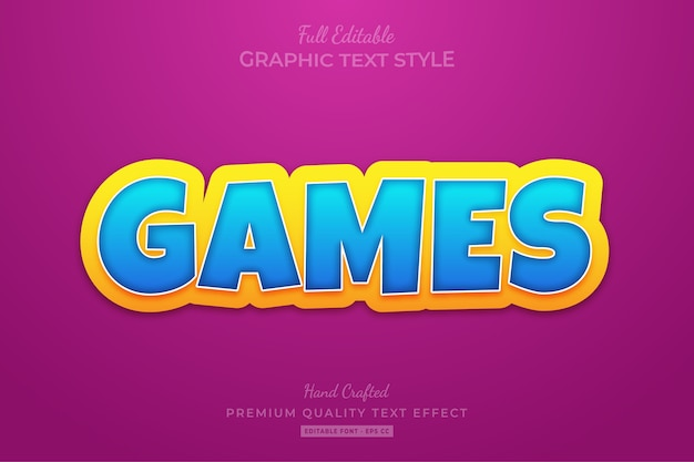 Games cartoon editable text style effect premium