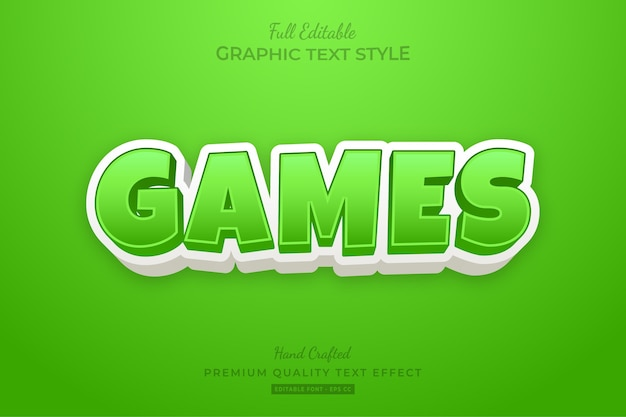 Игры мультфильм зеленый редактируемый текстовый стиль эффект премиум