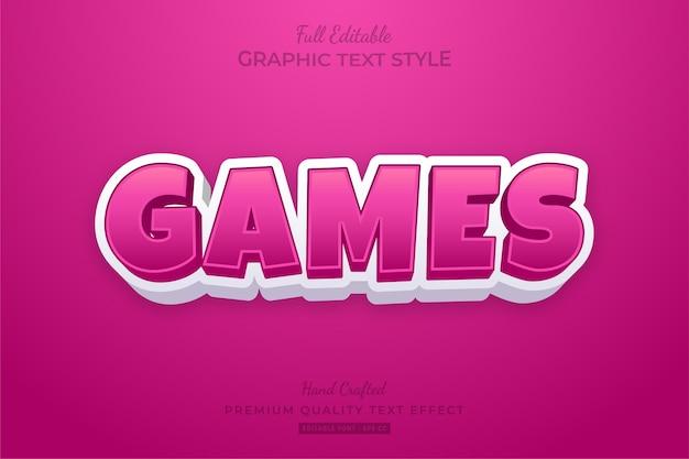 Games cartoon pink editable text style effect premium