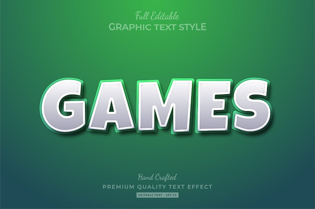 Games cartoon white green editable text effect