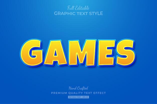 Игры мультфильм желтый синий редактируемый текстовый эффект