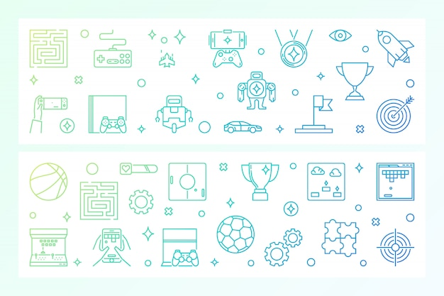 Games concept creative banners. vector illustration