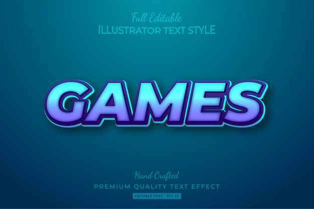 Games editable 3d text effect