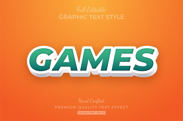 Games editable custom text style effect premium