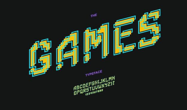 Шрифт игр жирный. модный крутой шрифт
