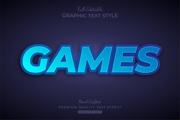 Игры градиент синий редактируемый текстовый эффект стиль шрифта Premium векторы