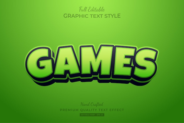 Games green cartoon editable   text style effect