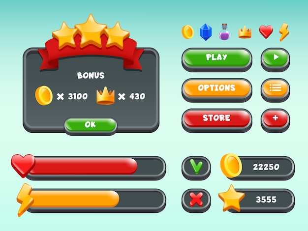 Games gui set, mobile gaming user interface icons and items colored button status bar ribbons casual build