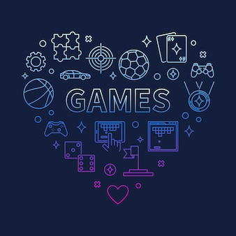 Games heart concept colorful outline icon illustration